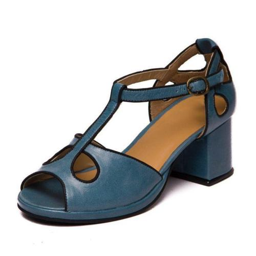 WOMEN MIDDLE HEELS HOLLOW-OUT MARY JANE SANDALS