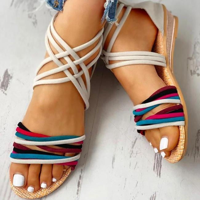 Women Suede Colorful Cross-Strap Open Toe Zipper Sandals