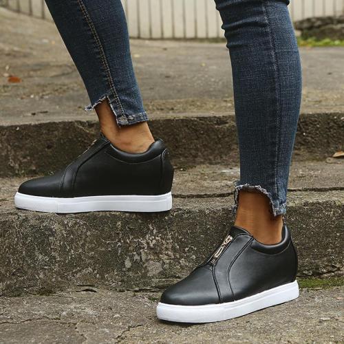 Women Round Toe Zipper Flat Heel Sneakers