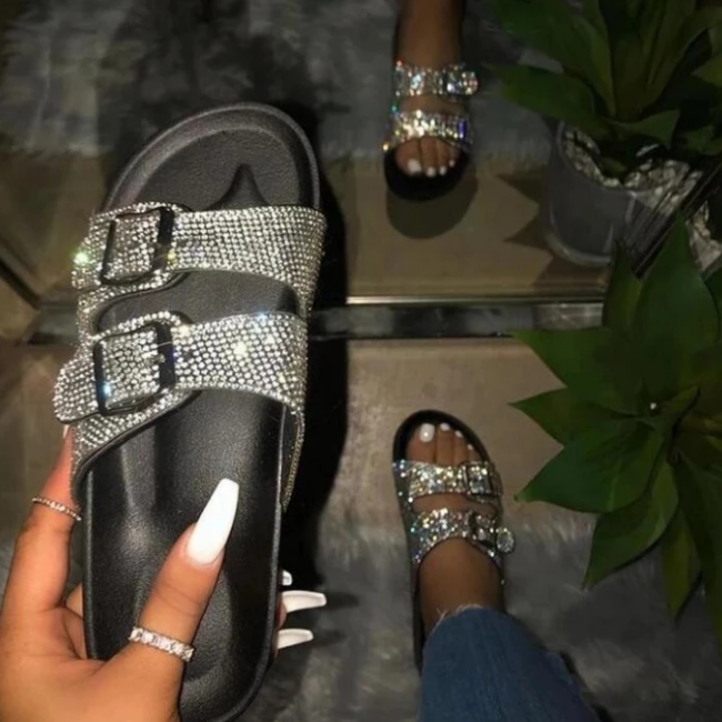 Women Fashion Summer Silppers Crystal Diamond Sandals