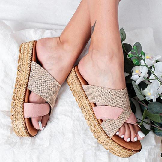 Platform Platform Heel Open Toe Slippers