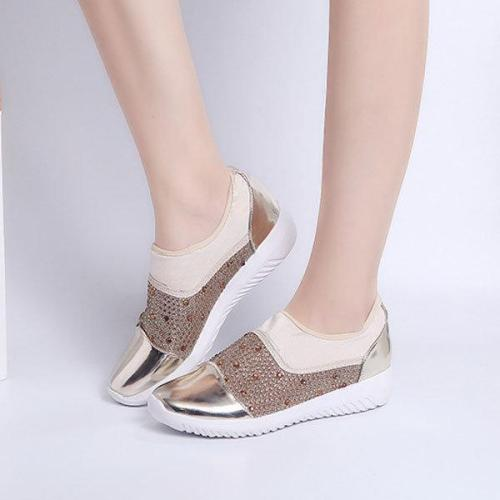 Large Size Women Splicing Hidden Heel Casual Flat Shoes
