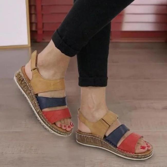 Plus Size New Fashion Stitching Block Wedges Women's Sandals