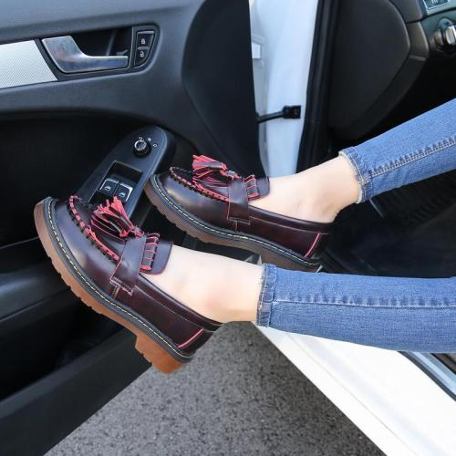 Spring Summer Ruffles Chic Slip-on Chunky Heel Loafers Tassel Oxford Shoes