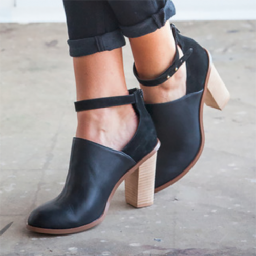 Womens Black Heeled Boots Retro Ankle Strap Chunky Heel Ankle Booties