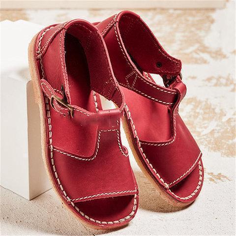 Women Vintage Adjustable Buckle Sandals