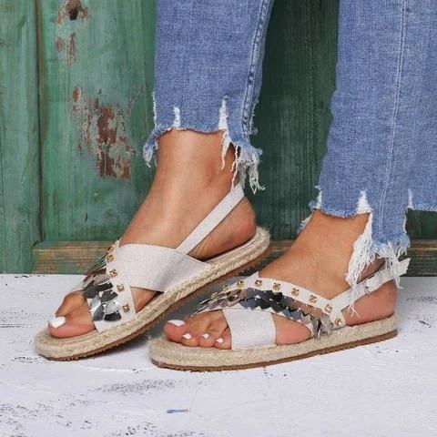 Beach Sandals Buckle Linen Cloth Flat Heel Open Toe Flat Heel Sandals