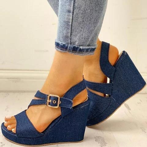 Women Peep Toe Pu Buckle Wedge Heel Casual Sandals