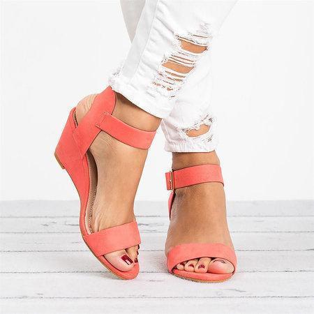 Women Plus Size Wedges Adjustable Buckle Wedge Sandals