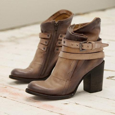 Vintage Buckle Ankle Boots Chunky Heel Zipper Boots
