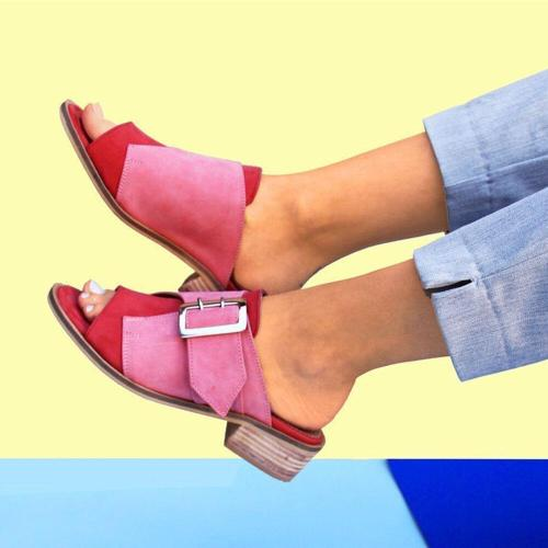 Plus Size Women Casual Open Peep Toe Block Heel Buckle Sandals