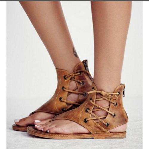 New Fashion Women Leisure Lace up Flat Sandals