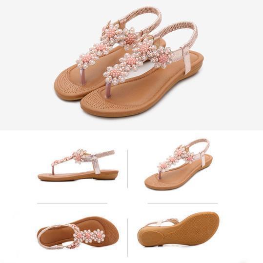 Bohemian Rhinestone Beaded Ethnic Flip-Flop Sandals