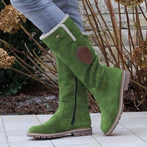 Fashion Flat Zipper Knee High Snow Boots