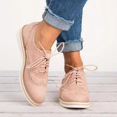Women's Lace Up Perforated Oxfords Shoes Plus Size Casual Shoes