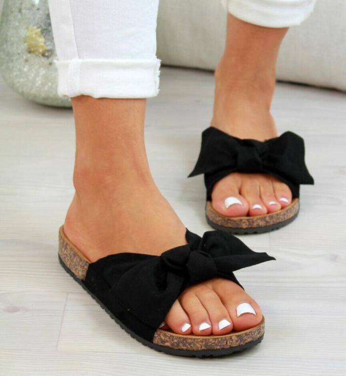 Women's Bowknot Flats Cloth Flat Heel Slippers