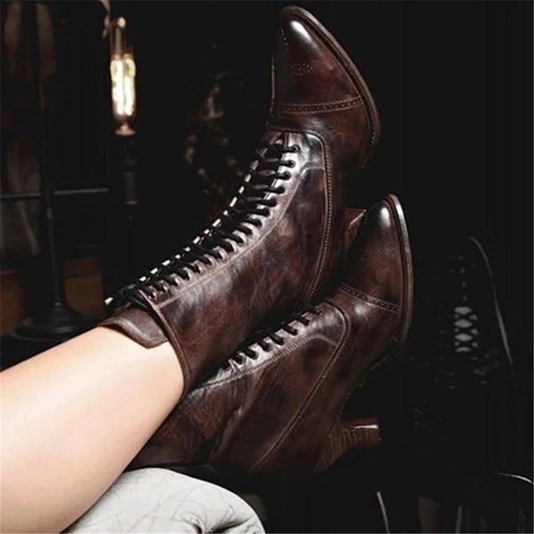 Women's Lace-Up Retro Low Heel Boots