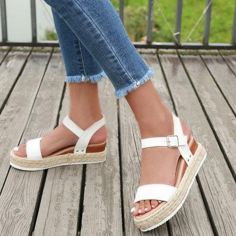 Summer Adjustable Buckle PU Casual Espadrille Sandals