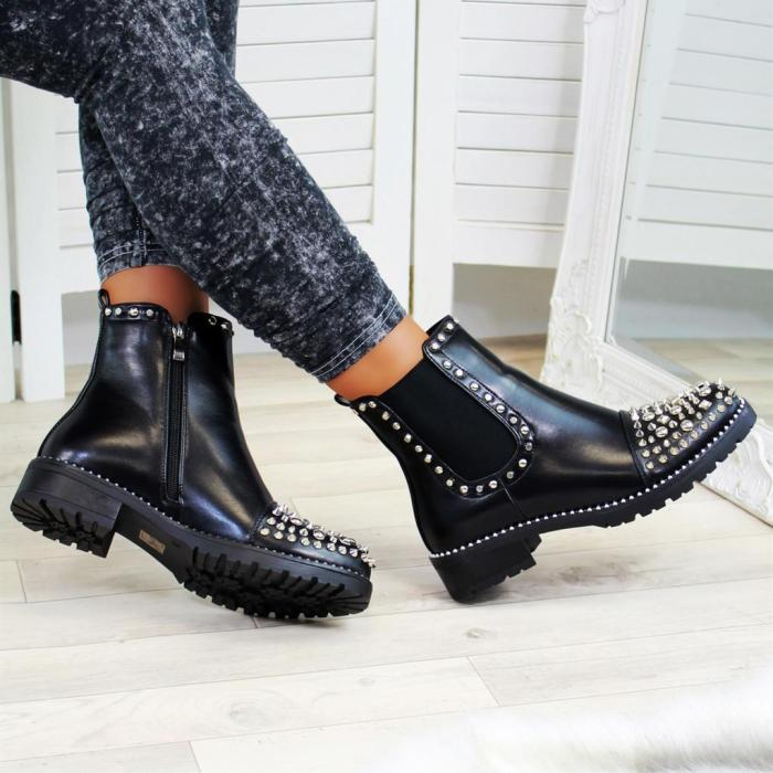 Black Silver Studs Chelsea Ankle Boots