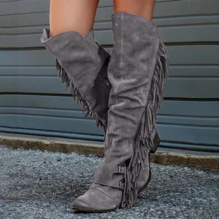 Low Heel Suede Winter Tassel Boots