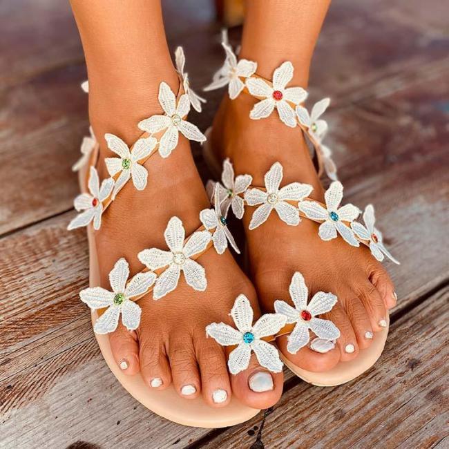 2020 Women  Flat Heel Boho Flower Sandals