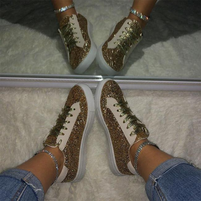 Women Large Size Sequin Flat Heel Sneakers