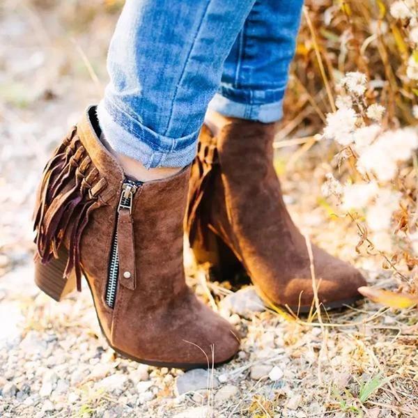 Women's Vintage Chunky Heel Booties