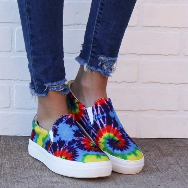 Women Multicolor Slip On Platform Skate Shoes