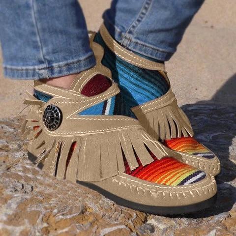 Flat Heel Tassel Boots