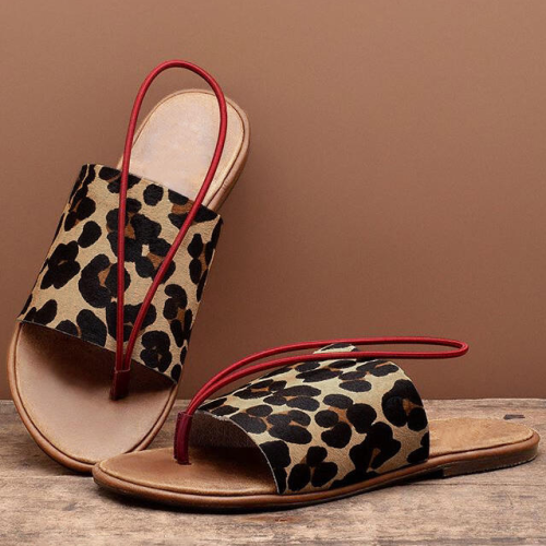 Creative Leopard Round Toe Flat Slippers