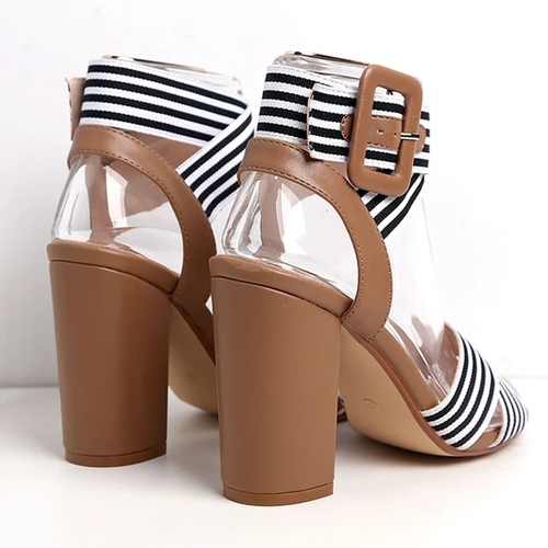 Summer Fashion Wild Black and White Striped Side Buckle Women's high Heel Sandals