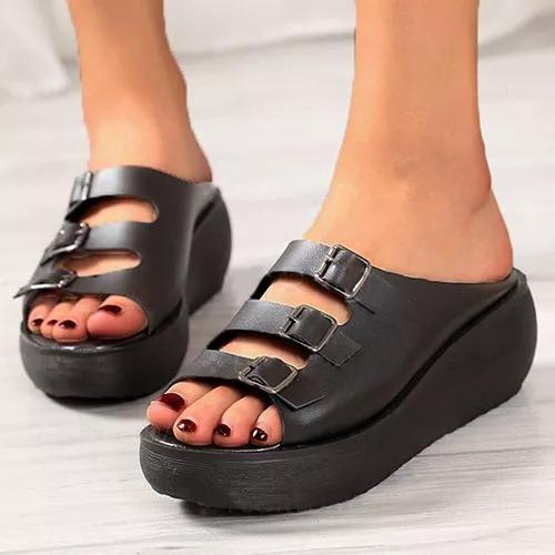 Women's Buckle Heels Wedge Heel Sandals