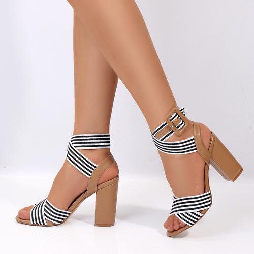 Summer Fashion Wild Black and White Striped Side Buckle Women's high Heel Sandals
