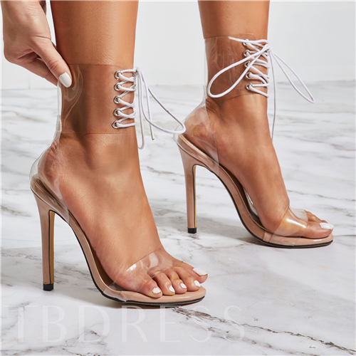 Open Toe Heel Covering Stiletto Heel Lace-Up See-Through Sandals