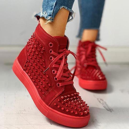 Women's hip-hop studded flat sneakers