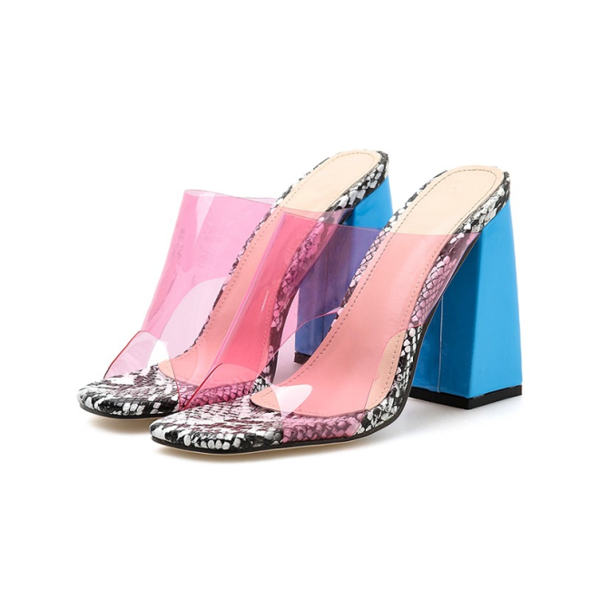 Colorblock Square Toe Heeled Sandals