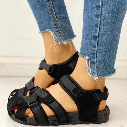 Womens Velcro Design Cutout Flat Sandals