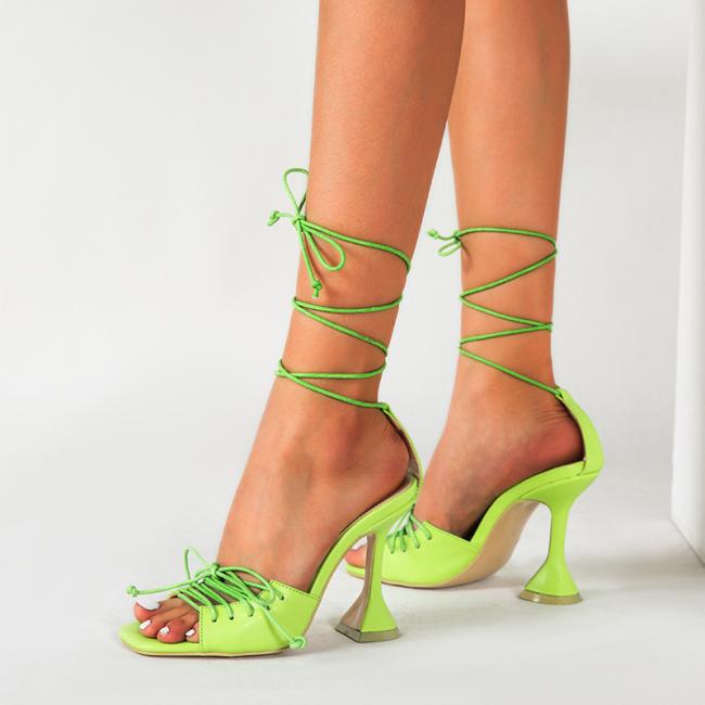 Peep Toe Lace-up Chunky Heeled Sandals