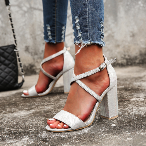 Heel Covering Buckle Chunky Heel Open Toe Serpentine Sandals