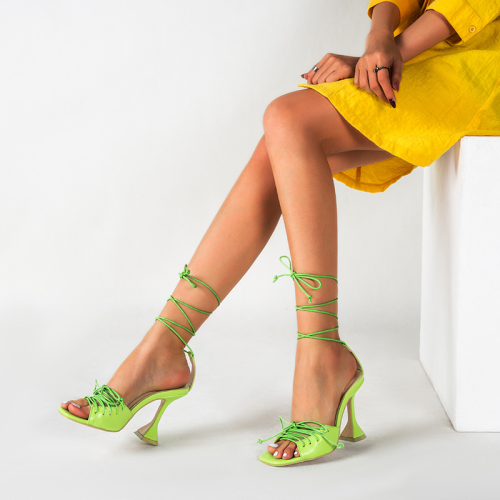 Peep Toe Lace-up Chunky Heeled Sandals