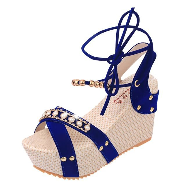 Women's 4  Wedges - Gold Metal Trim / Open Toes