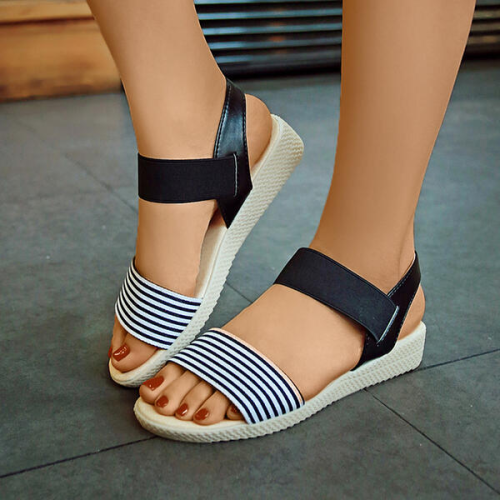 NEWS! Women PU Wedge Heel Wedge Sandals Peep Toe with Striped Bandage Shoes
