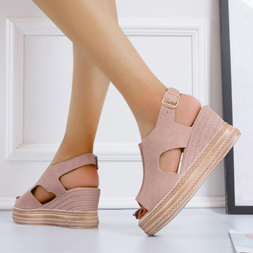 Women's Suede Hollow Out Peep Toe Buckle Strap Platform Sandals