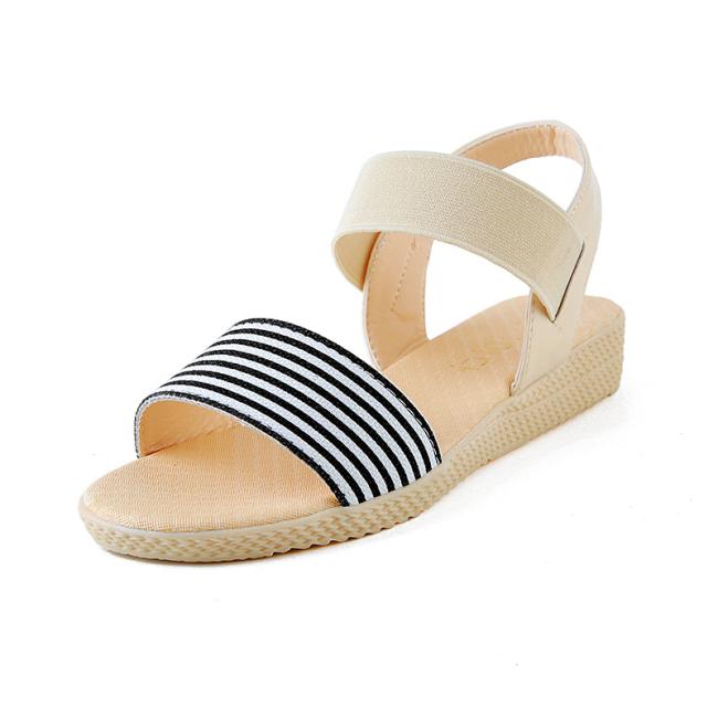 NEWS! Women PU Wedge Heel Wedge Sandals Peep Toe with Striped Bandage Shoes