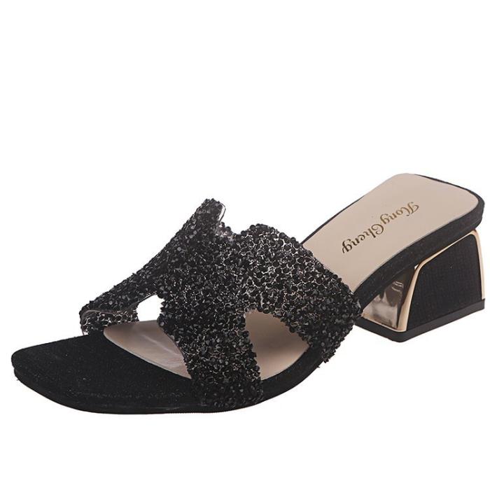 NEWS! Women PU Chunky Heel Wedge Sandals Peep Toe Slippers with Rhinestone Shoes