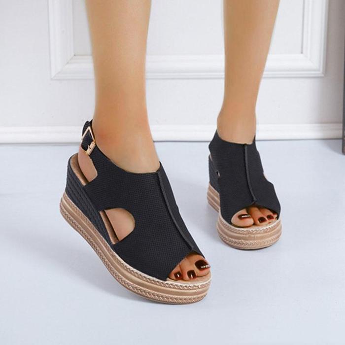 Women's Suede Hollow Out Peep Toe Buckle Strap Platform Sandals