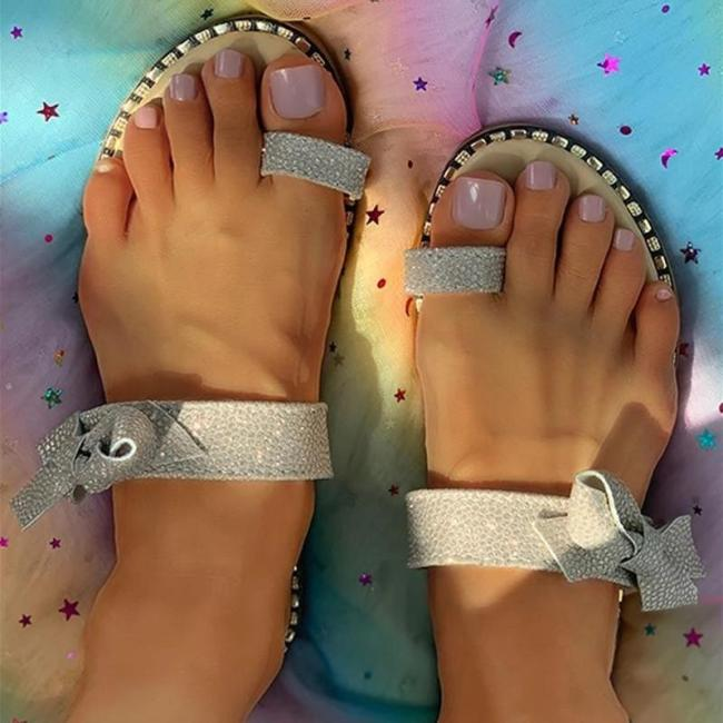 Womens Bowknot Glittering Strap Toe Ring Slide Sandals