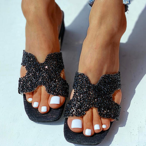 NEWS! Women PU Chunky Heel Wedge Sandals Peep Toe Slippers with Rhinestone Shoes