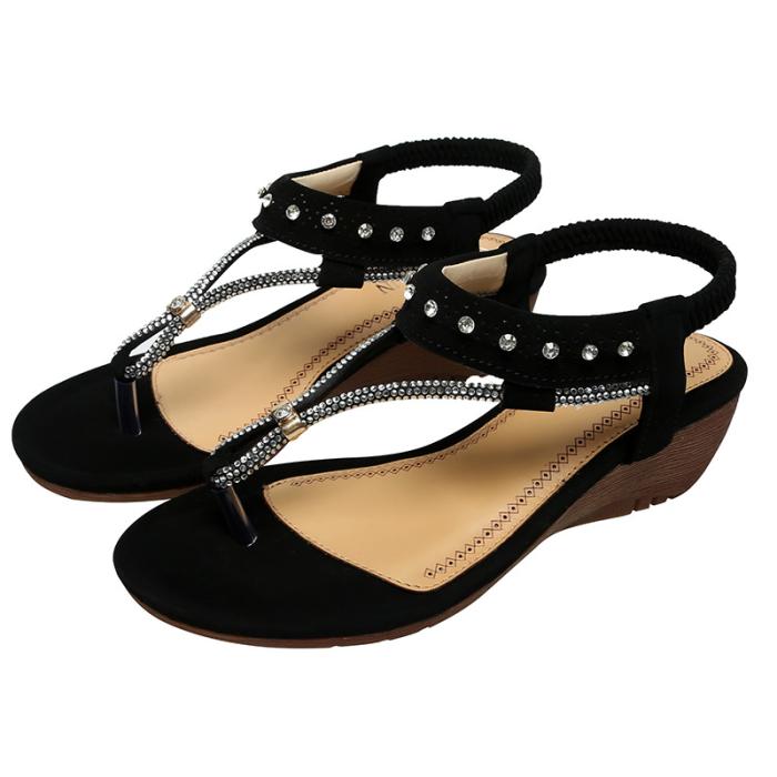 NEW! Women PU Wedge Heel Wedge Sandals Flip Flops with Rhinestone Shoes