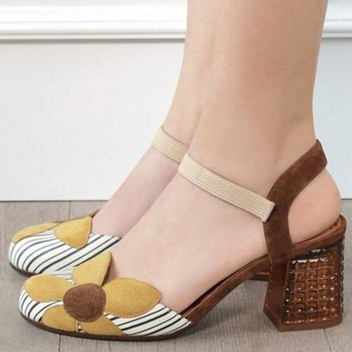 Flower Chunky Heel Sandals